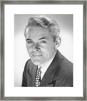 Smiling Man In Studio, (b&w), Portrait Framed Print by George Marks