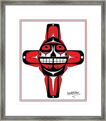 Smiling Sun Red Framed Print by Speakthunder Berry