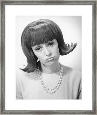 Smiling Woman Grimacing In Studio, (b&w), Portrait Framed Print by George Marks