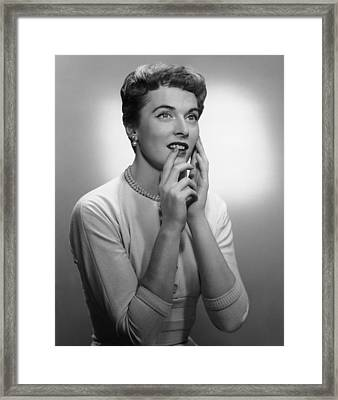 Smiling Woman Posing In Studio, (b&w) Framed Print by George Marks
