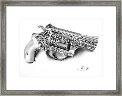 Smith And Wesson Drawing Framed Print by John Harding