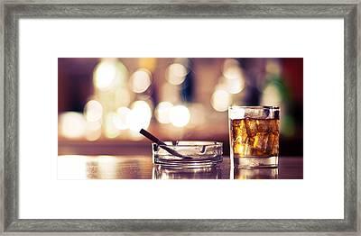 Smoke And Drink Bokeh Framed Print