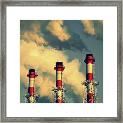 Smoke Coming From Big Chimneys, Moscow Framed Print by Fedor Vilner
