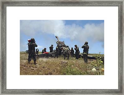 Smoke Fills The Air As Marines Fire Framed Print by Stocktrek Images