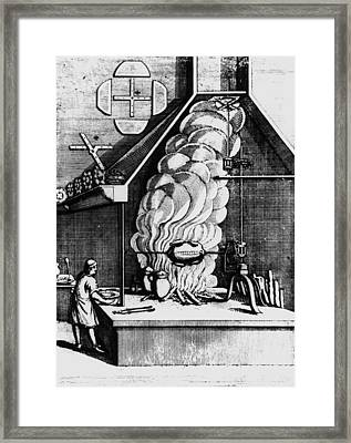 Smoke From A Fire Driving A Turbine In A Chimney Framed Print by