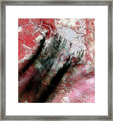 Smoke Plumes Over Baghdad, Iraq Framed Print