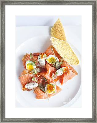 Smoked Salmon And Cream Cheese Framed Print by Chavalit Kamolthamanon