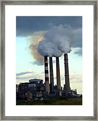 Smokestacks At Dusk Framed Print