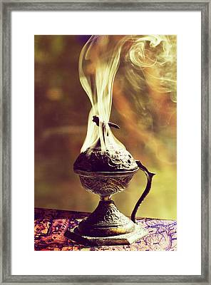Smoking Incense Burner Framed Print by Laura George