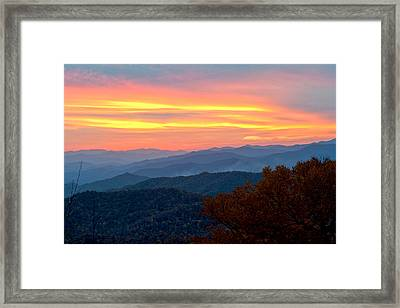 Smoky Mountains Burning Sunset Framed Print