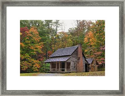 Smoky Mountains Log Capbin Framed Print by Charles Warren