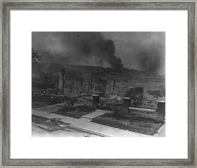 Smoldering Ruins Of African Americans Framed Print by Everett