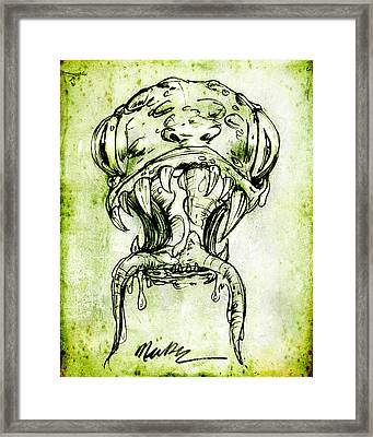 Framed Print featuring the drawing Snake Monster  by Nada Meeks