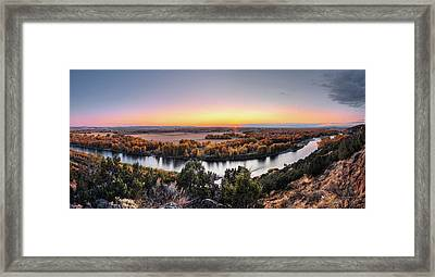 Snake River Panoramic Sunset Framed Print
