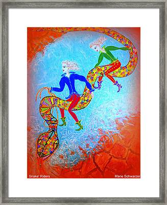 Framed Print featuring the painting Snake's Riders by Marie Schwarzer