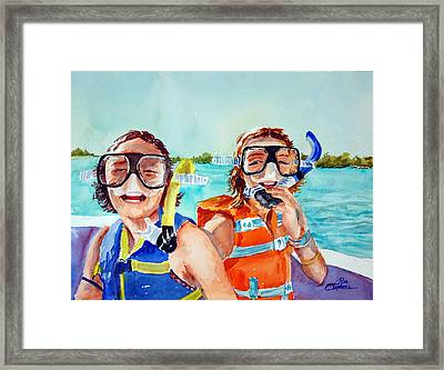 Framed Print featuring the painting Snorkel Girls by Ron Stephens