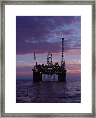 Framed Print featuring the photograph Snorre At Dusk by Charles and Melisa Morrison