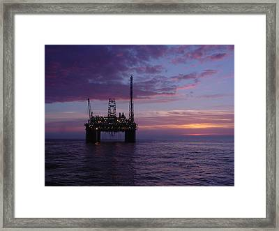 Framed Print featuring the photograph Snorre Sunset by Charles and Melisa Morrison