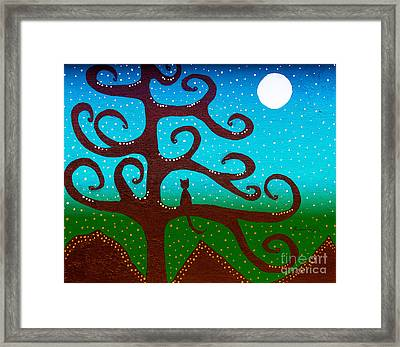 Snow And The Cattail Tree Framed Print