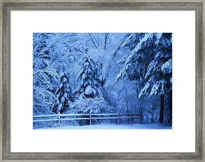 Snow Blanket At Twilight Framed Print