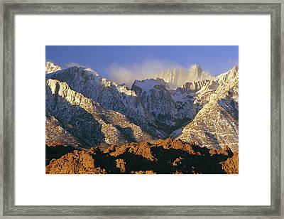 Snow Blows From Mount Whitney. The Framed Print by Phil Schermeister