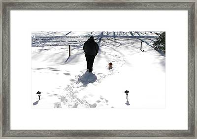 Framed Print featuring the photograph Snow Buddies by Pamela Hyde Wilson