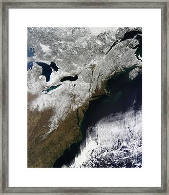 Snow Cover Stretching From Canada Framed Print