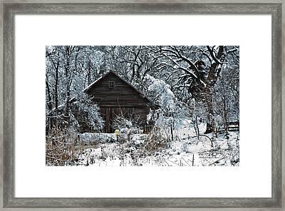 Snow Covered Barn Framed Print