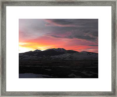Snow Covered Mountain Sunset Framed Print by Adam Cornelison