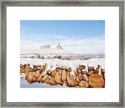 Snow Covered Rock Wall Framed Print by Thom Gourley/Flatbread Images, LLC