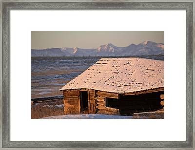 Snow Covered Rocky Mountains In Alberta Winter Framed Print by Mark Duffy