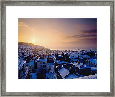 Snow Covered Rooftops Of Hastings Framed Print