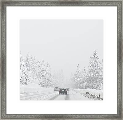 Snow-covered Rural Highway Framed Print by Dave & Les Jacobs