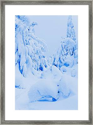 Snow-covered To Vallee Des Fantomes Framed Print by Yves Marcoux