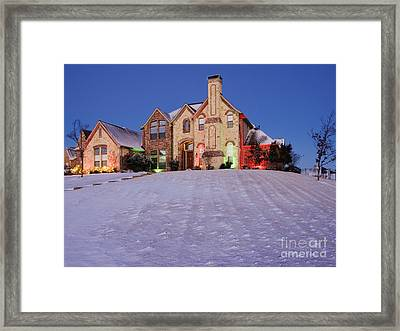 Snow Covered Yard And Stone House Framed Print by Jeremy Woodhouse