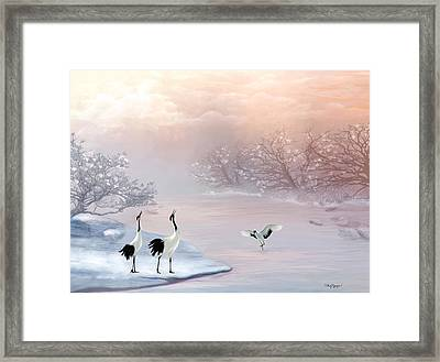 Snow Cranes Framed Print