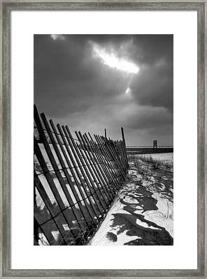 Snow Fence Framed Print by At Lands End Photography