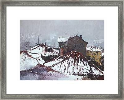 Snow In Elbasan Framed Print by Ylli Haruni