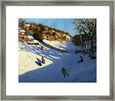 Snow In The Valley Framed Print by Andrew Macara