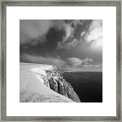 Snow On Highdown, Freshwater, Isle Of Wight Framed Print by s0ulsurfing - Jason Swain