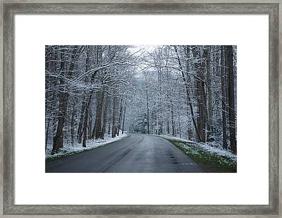 Snow On The Road Framed Print by Carrie Munoz