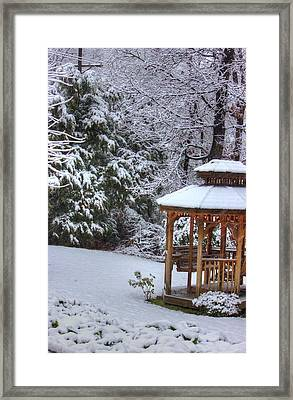 Snow On The Roof Framed Print by Barry Jones