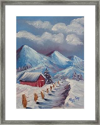Snow Path Framed Print by Peggy King