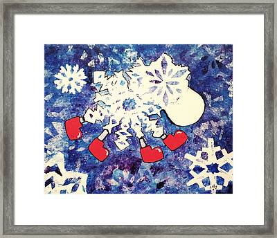 Snow Sheep Red Wellies Framed Print
