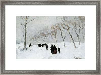 Snow Storm Framed Print by Anton Mauve