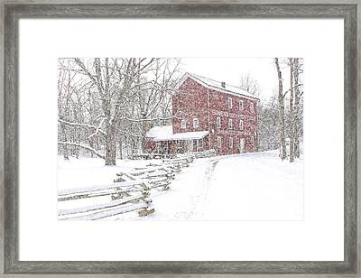 Snow Storm At Bowen's Mill Framed Print