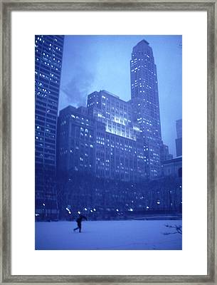 Framed Print featuring the photograph Snow Storm Bryant Park New York City by Tom Wurl