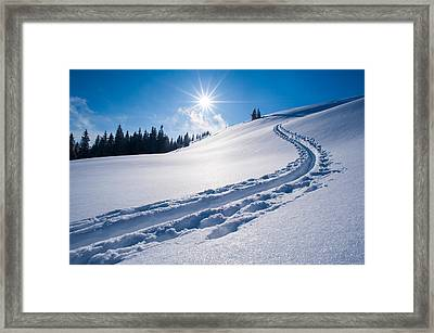 Snow Track Of A Backcountry Skier In Bavarian Alps Framed Print by Olaf Broders