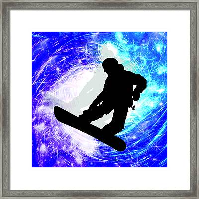 Snowboarder In Whiteout Framed Print by Elaine Plesser
