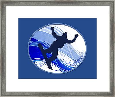 Snowboarding And Snowflakes Framed Print by Elaine Plesser